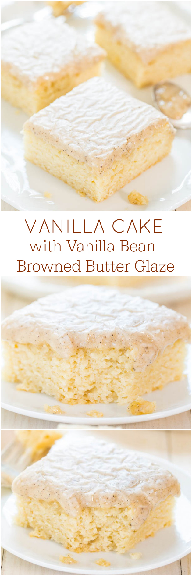Vanilla cake from scratch: move over the chocolate, because the vanilla has arrived. This easy, mixer-less vanilla cake is topped with a golden butter frosting that's impossible to resist!