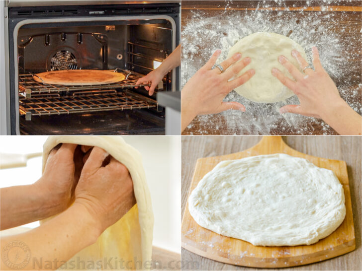 Forming a pizza dough and baking on a pizza stone