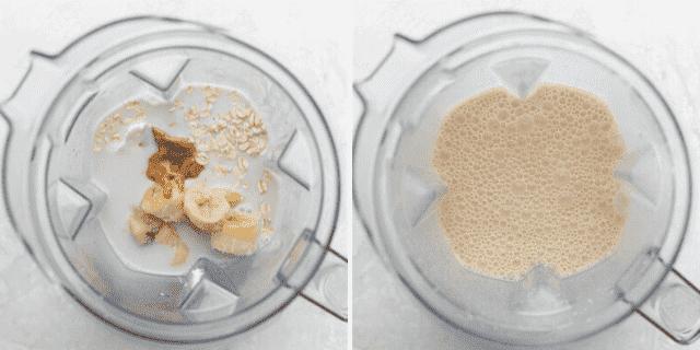 Procese las tomas para mostrar todos los ingredientes en la licuadora antes y después de mezclar