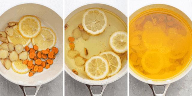 Tres disparos para mostrar cómo preparar la bebida en una sartén