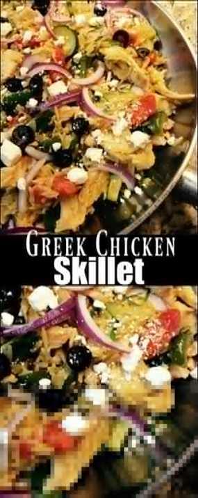 Pollo griego y sartén Orzo    Recetas de la tía Bee