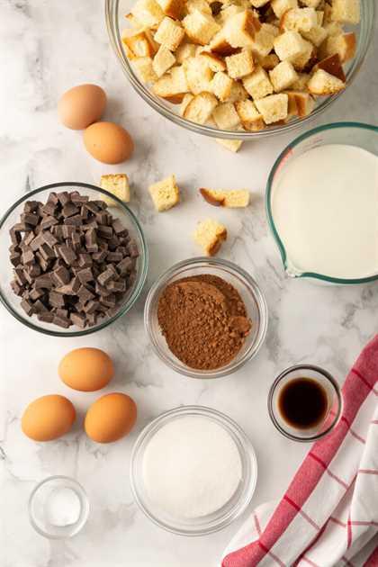 ingredientes para hacer budín de pan de chocolate
