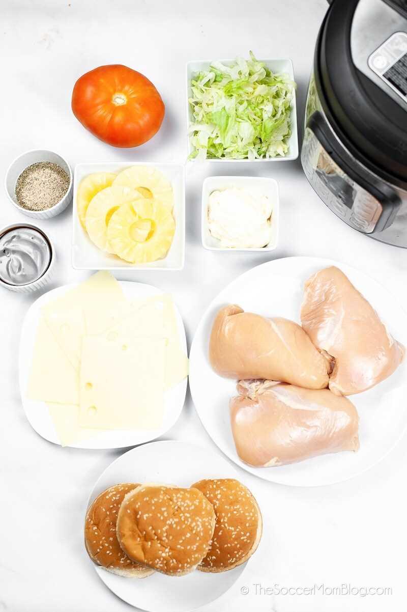 ingredientes para hacer una hamburguesa de pollo teriyaki