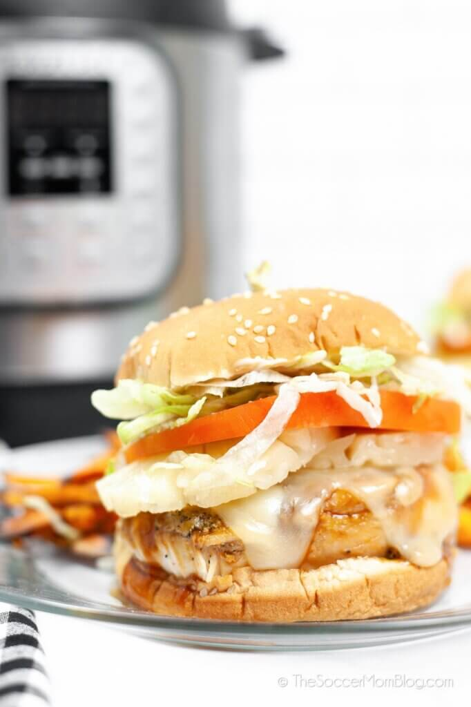 hamburguesa de pollo teriyaki y olla instantánea