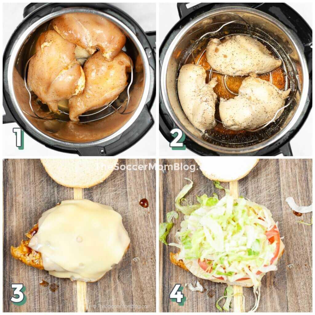 foto paso a paso que muestra cómo hacer una hamburguesa de pollo teriyaki