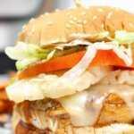 hamburguesa casera de pollo teriyaki con queso