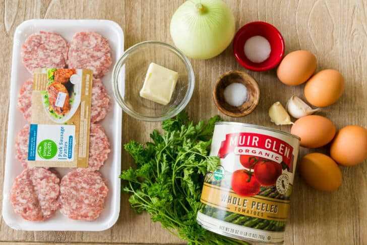 Ingredientes para hacer shakshuka de desayuno