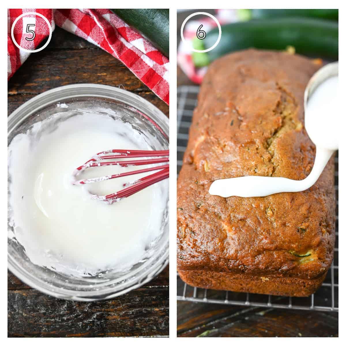 Dos fotos de proceso, primero una mezcla de esmalte en un tazón pequeño.  El segundo, una cuchara rociándolo sobre el pan enfriado.
