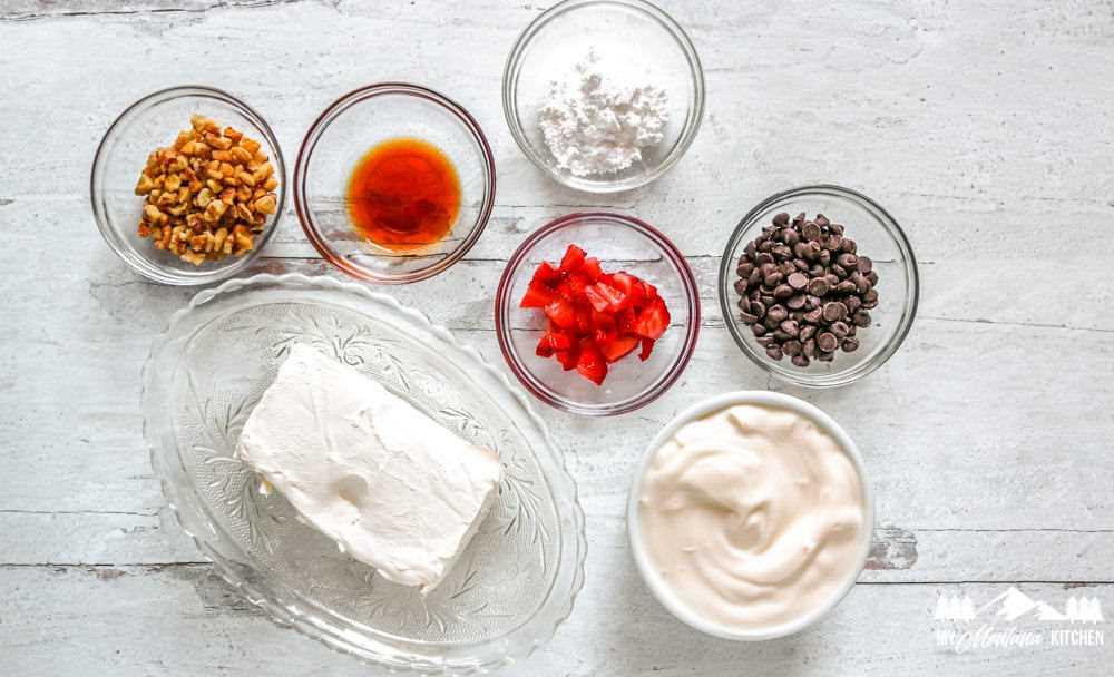 Ingredientes para la corteza de yogur de tarta de queso