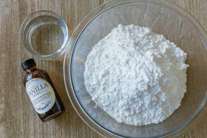Ingredientes para glaseado de rosquillas