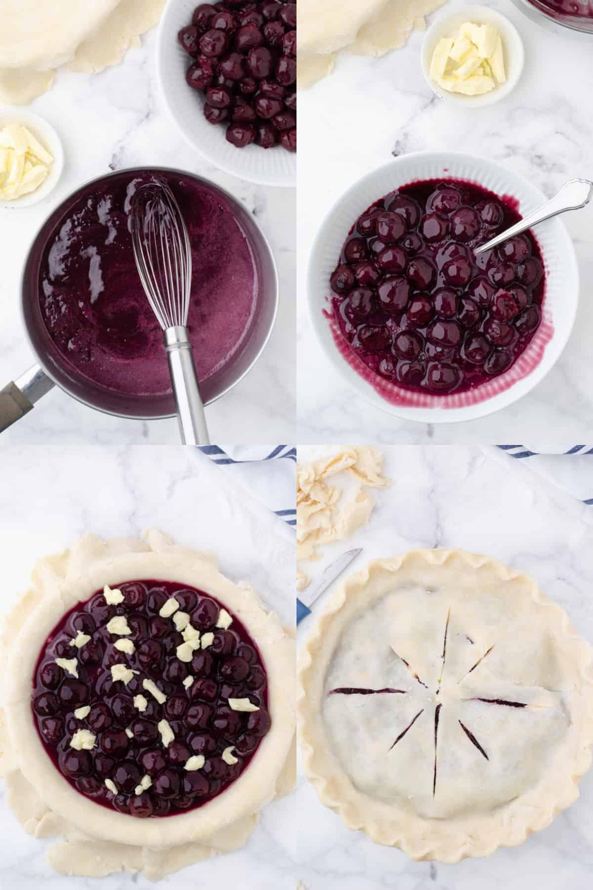 Cuatro fotos de proceso.  Primero, jugo de cereza en una cacerola.  En segundo lugar, las cerezas se vierten en la cacerola.  Tercero, cerezas espesas sobre una base de tarta casera.  Cuarto, la corteza de pastel superior colocada encima.