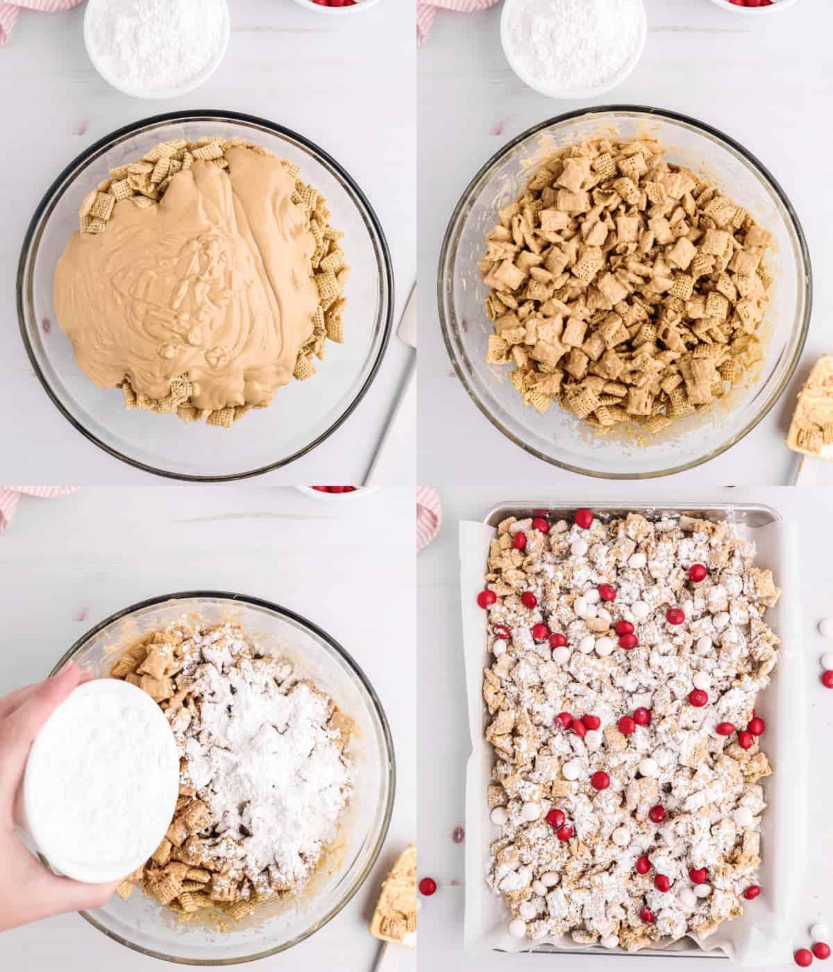 Cuatro fotos de proceso.  Primero, cereal de arroz con una mezcla de mantequilla de maní y chocolate encima en un tazón grande.  Segundo, todo mezclado en un bol.  Tercero, azúcar en polvo espolvoreado encima.  Cuarto, amigos embarrados colocados en una fuente para hornear forrada con papel pergamino con M & M's rojos y rosados esparcidos por todas partes.