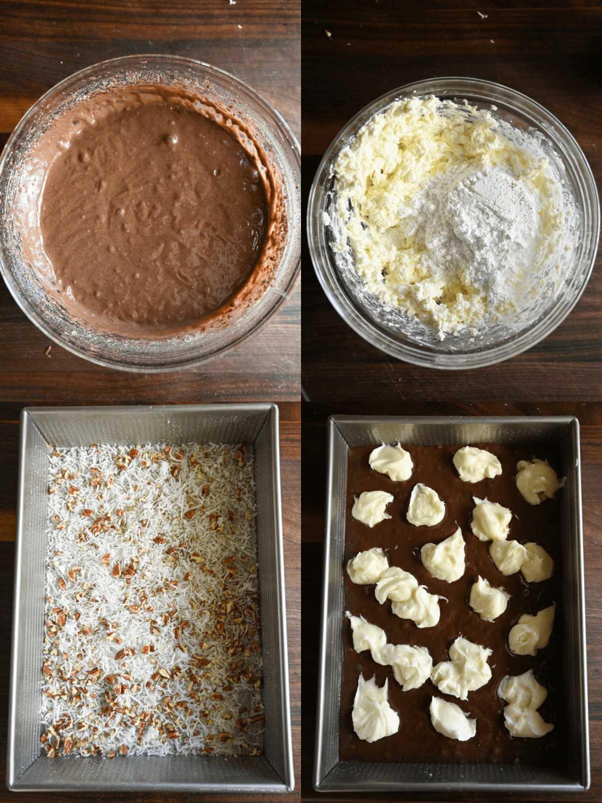 Cuatro fotos de proceso.  Primero uno, masa de pastel, todo mezclado en un tazón.  En segundo lugar, glaseado de queso crema, todo mezclado en un tazón.  En tercer lugar, el coco y las nueces se untan en una bandeja para hornear.  En cuarto lugar, se vierte la masa del pastel en la sartén y el glaseado de queso crema se esparce en gotas por todo el pastel.