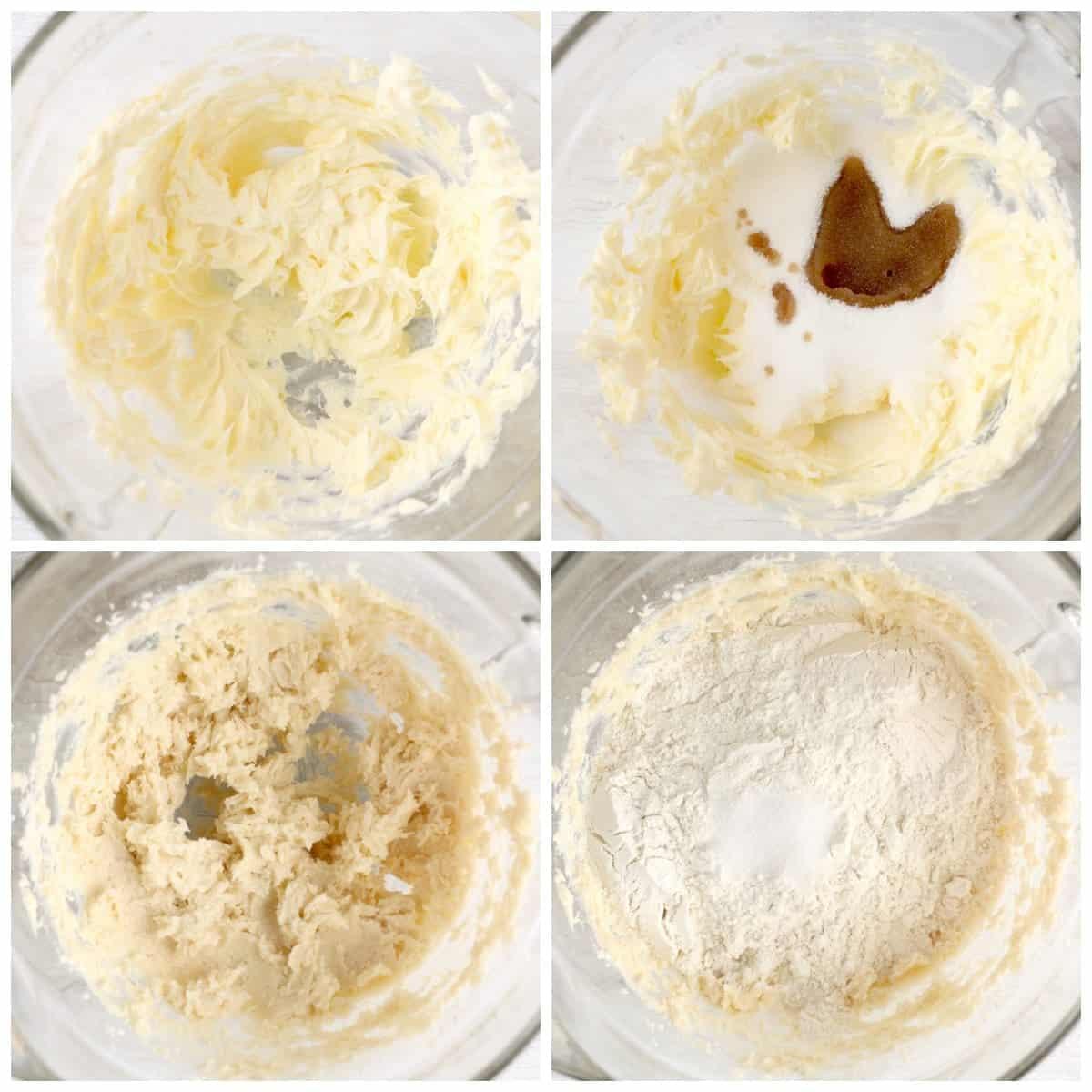Cuatro fotos de proceso.  Primero, mantequilla batida en un tazón.  Segundo, ingredientes húmedos agregados a la mantequilla batida.  Tercero, ingredientes húmedos batidos.  Cuarto, poner los ingredientes secos encima.