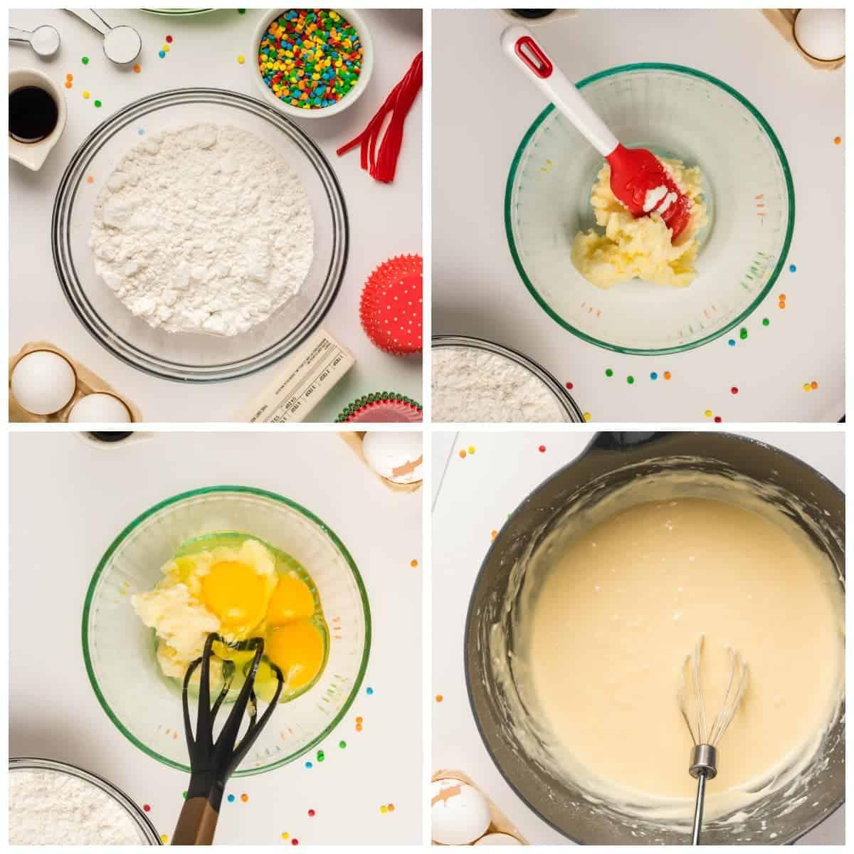 Cuatro fotos de proceso.  Primero, seque los ingredientes en un tazón con chispas y algunos ingredientes húmedos a un lado.  El segundo, la mantequilla ablandada en un bol con una espátula roja.  Tercero, huevos y azúcar añadidos a la mantequilla.  Cuarto, todo mezclado en un tazón grande.