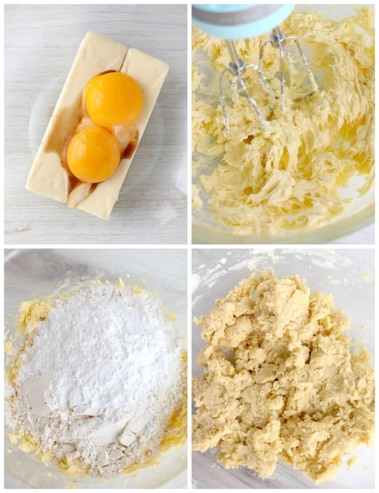 Cuatro fotos de proceso.  Primero, la mantequilla y las yemas de huevo en un bol listo para mezclar.  En segundo lugar, huevo y mantequilla, todo batido.  Tercero, ingredientes secos encima de los ingredientes húmedos.  Cuarto uno, todo mezclado.