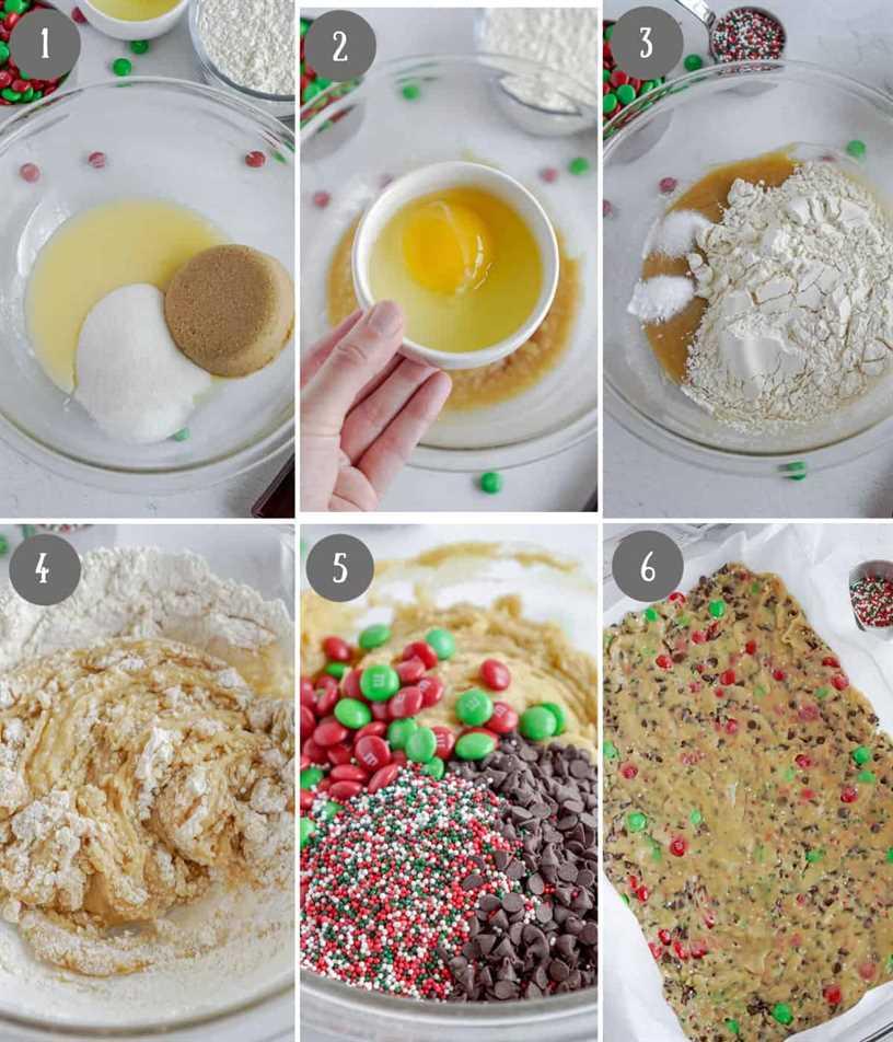 Seis fotos de proceso.  Primero, azúcares y mantequilla en un bol.  En segundo lugar, se añaden los huevos. En tercer lugar, se añaden los ingredientes secos. En cuarto lugar, se mezcla todo el rebozado.  Quinto, se agrega chocolate. Sexto uno, masa para galletas prensada en una bandeja para hornear.